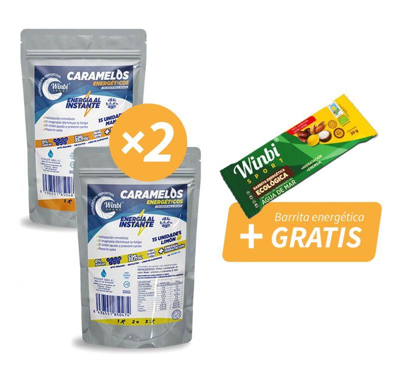 2 bolsas de CARAMELOS energéticos + Barrita energética